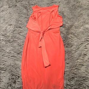 Open back coral dress